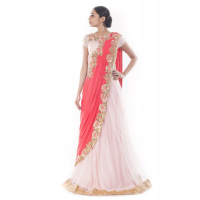 Anju Agarwal Pink and Peach Saree Gown