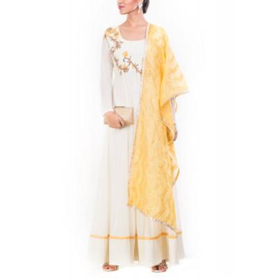 Anju Agarwal Off-white & Yellow Anarkali Suit Set