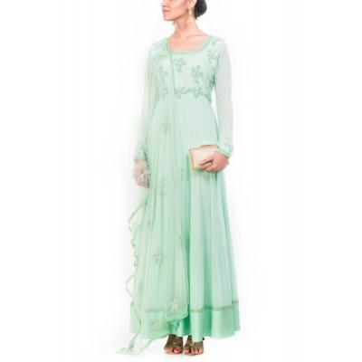 Anju Agarwal Turquoise Suit Set