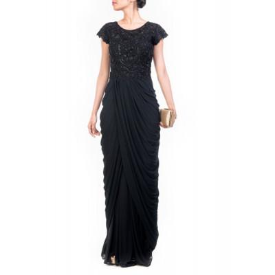 Anju Agarwal Black Cocktail Gown