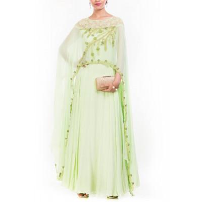 Anju Agarwal Green Cape Gown