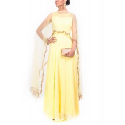 Anju Agarwal bright yellow Cape gown