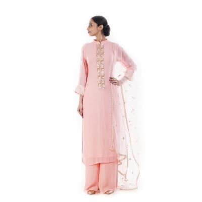 Anju Agarwal Pink Kurta Palazzo Set