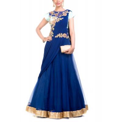 Anju Agarwal Aqua Blue Gown Saree