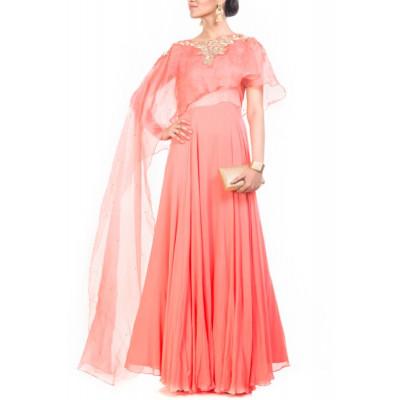 Anju Agarwal Pink Cape Gown
