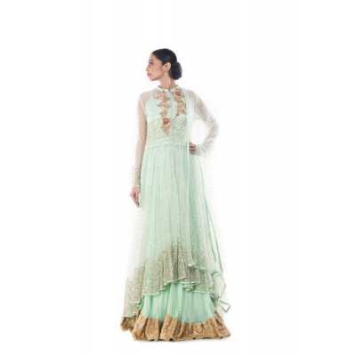 Anju Agarwal Light Green and Gold Lehenga Set