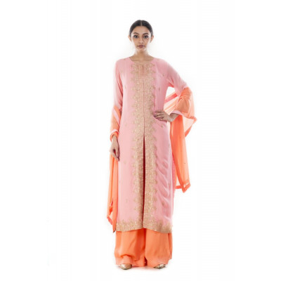 Anju Agarwal Pink and Peach Suit Set