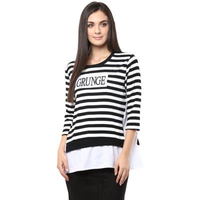 Remanika Black and White Striped T-shirt