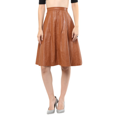 Remanika Leather Flared Midi Skirt