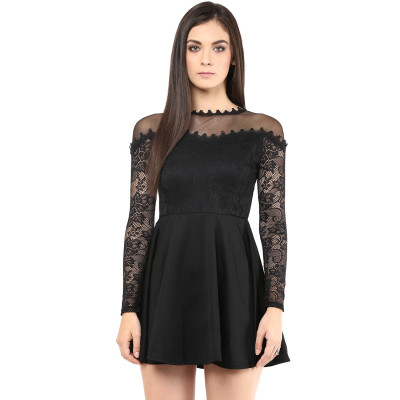 Remanika Solid Dress With Lace Sleeves