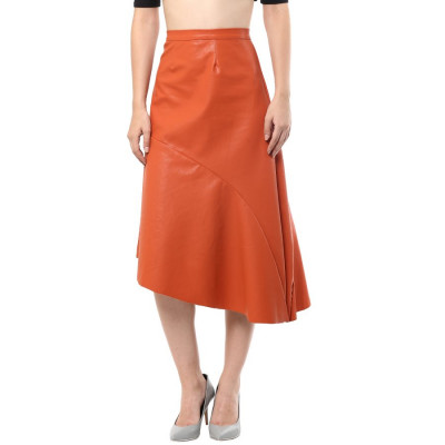 Remanika Asymmetric Leather Skirt