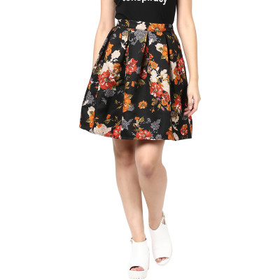Remanika Floral Printed Box Pleated Flared Skirt