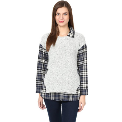Remanika Checked Shirt Layered With Sweater