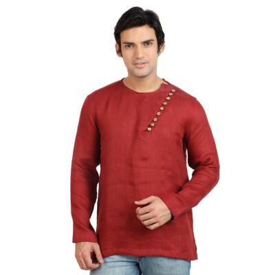 Mayank Modi Deep Red Short Kurta
