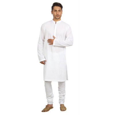Mayank Modi White Kurta Churidar Set