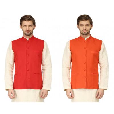 Mayank Modi Orange Reversible Nehru Jacket
