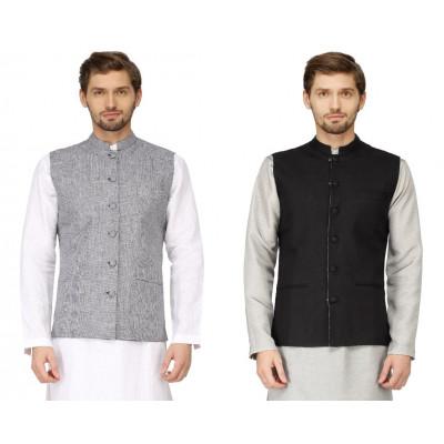 Mayank Modi Black Reversible Nehru Jacket