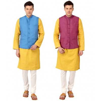 Mayank Modi Reversible Blue Nehru Jacket