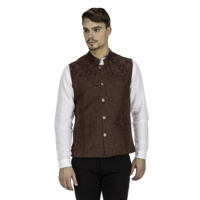Mayank Modi Brown Silk Nehru Jacket