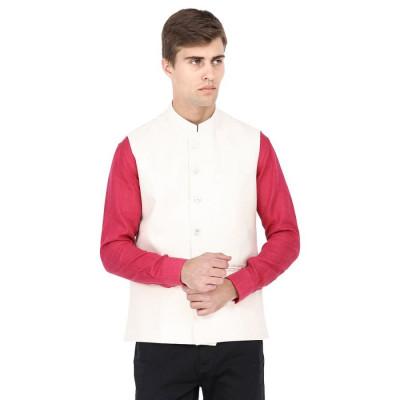 Mayank Modi Beige Nehru Jacket