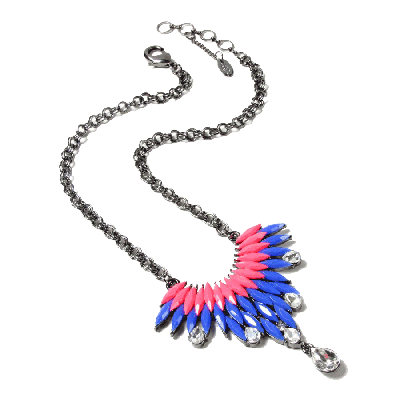 Amrita Singh Joan Blue and Fuchsia Pendant Necklace