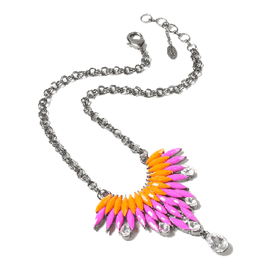Amrita Singh Joan Orange and Fuchsia Pendant Necklace