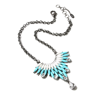 Amrita Singh Joan White and Turquoise Pendant Necklace