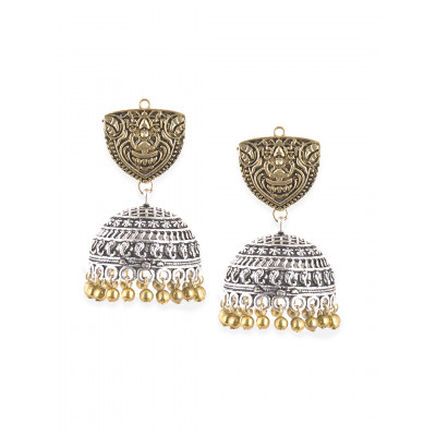 Rubans Golden And Silver Jhumkas