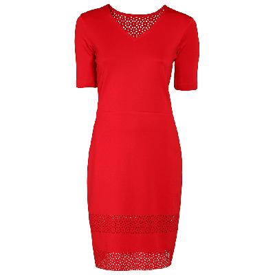 Manoviraj Khosla Maroon Cutwork Knitted Dress