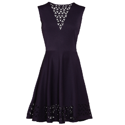 Manoviraj Khosla Navy Blue Cutwork Knitted Dress