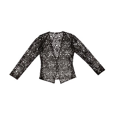 Manoviraj Khosla Black Laser Cut Leather Shrug