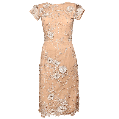 Manoviraj Khosla Peach Low Back Lace Dress
