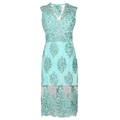 Manoviraj Khosla Aqua Green Sheer Lace Embroidered Dress