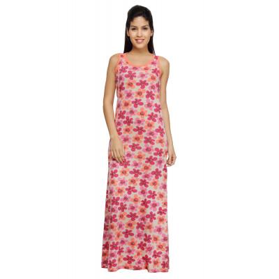 Nuteez 'Petals' Floral Printed Sleeveless Maxi Dress