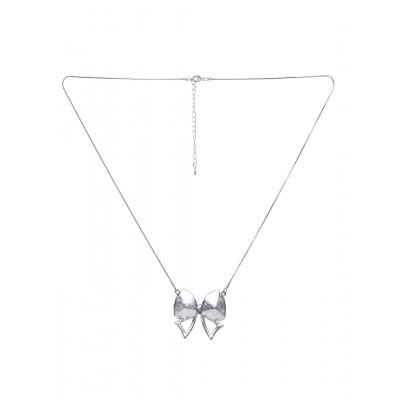 Rubans Opaque Silver Bow Pendant Chain