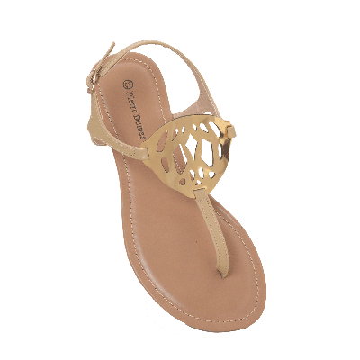 Pierre Dumas Flat Sandals with Metal Cutwork