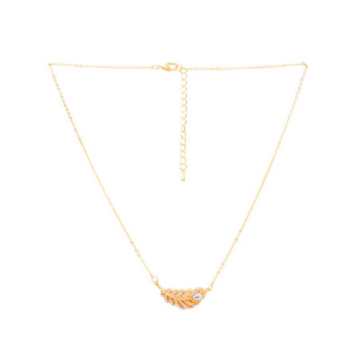 Rubans Gold Feather Pendant Chain