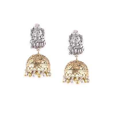 Rubans Silver and Gold Metal Jhumkas