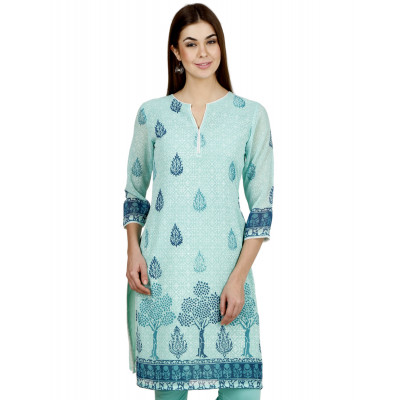 Uptown Galeria Light Blue Block Printed Kurti