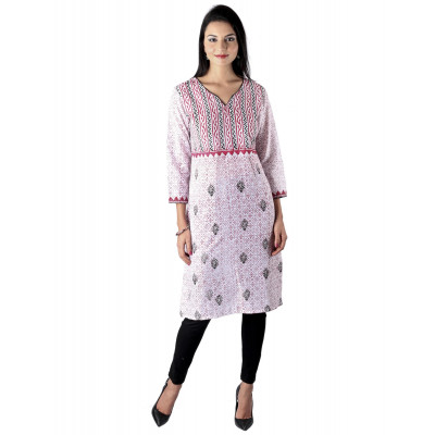 Uptown Galeria Pink and Black Block Printed Kurta
