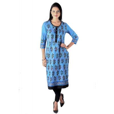 Uptown Galeria Black and Blue Block Printed Kurta
