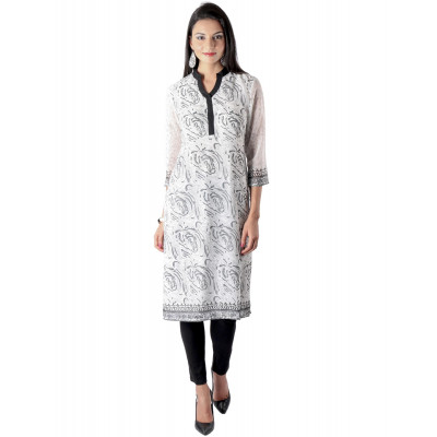 Uptown Galeria Black and White Block Printed Kurta