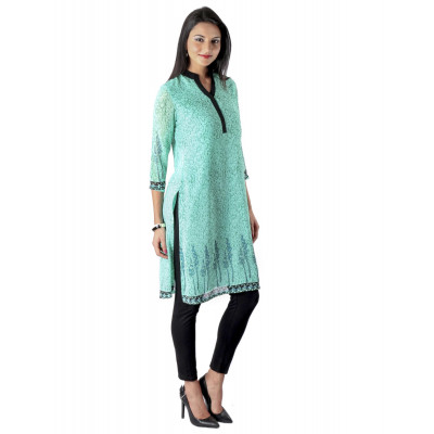 Uptown Galeria Light Green Block Printed Kurta