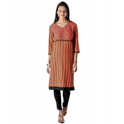 Uptown Galeria Brown Block Printed Kurta