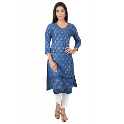 Uptown Galeria Blue and Gold Block Printed Kurta