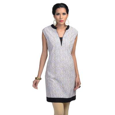 Uptown Galeria Women White Printed Cotton Kurta
