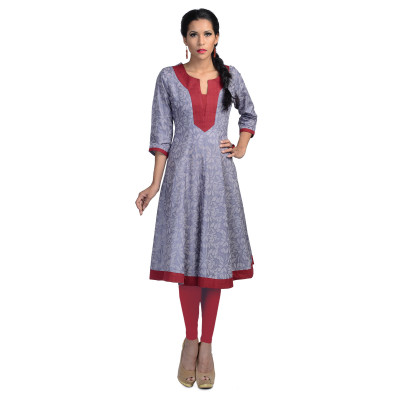 Uptown Galeria Women Purple Printed Anarkali Kurti