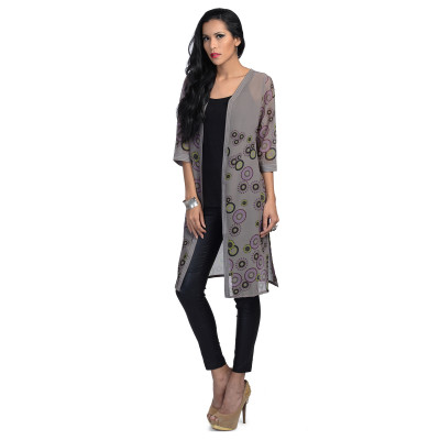 Uptown Galeria Grey Long Shrug with Camisole