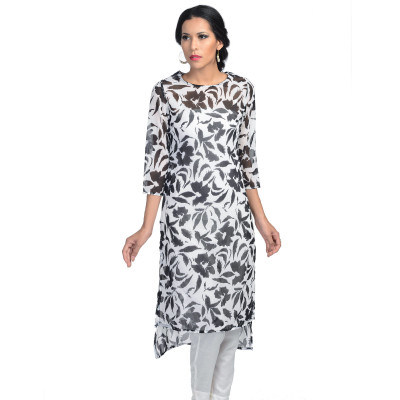 Uptown Galeria Black and White Chiffon Kurti