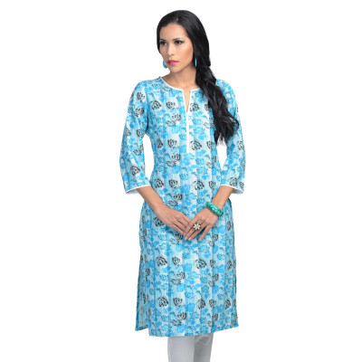 Uptown Galeria Light Blue Rose Print Kurti
